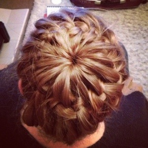 Starburst crown braid hair up