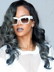 Riri sporting her hair in an ice grey colour!