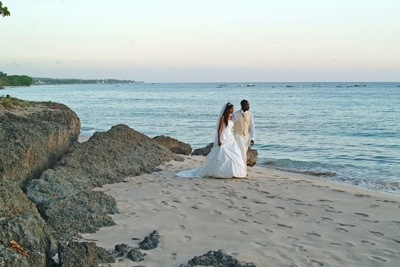 Our wedding day on the beach in Barbados!