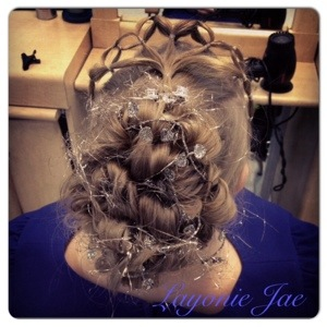 Winter Wonderland themed hair up