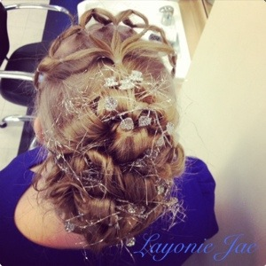 Winter Wonderland themed hair up by Layonie Jae