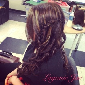 Waterfall braid hair down