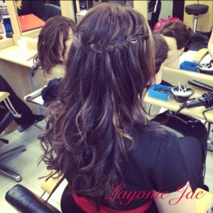 Waterfall braid hairstyle by Layonie Jae