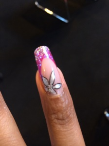 Sculptured gel nail by Khrissy from the nsi team